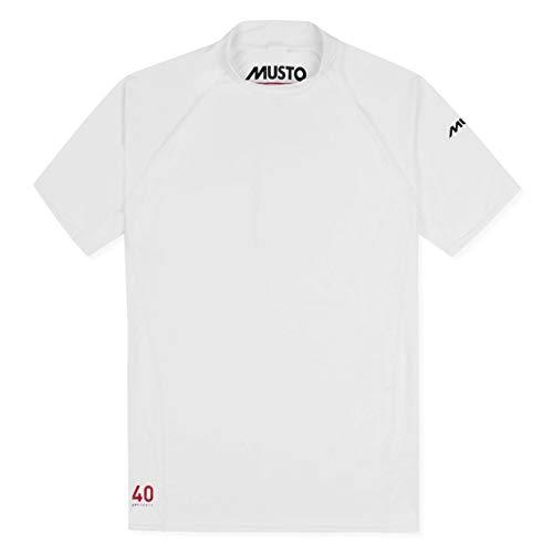 Musto Herren Insignia UV Dry Kurzarm T-Shirt T-Shirt Top Weiß - Unisex - Easy Stretch - Fleece-stretch-t-shirt