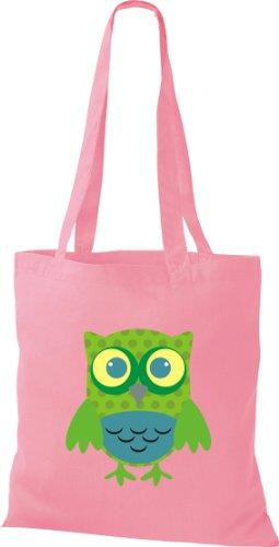 Stoffbeutel Bunte Eule niedliche Tragetasche mit Punkte Owl Retro diverse Farbe rosa