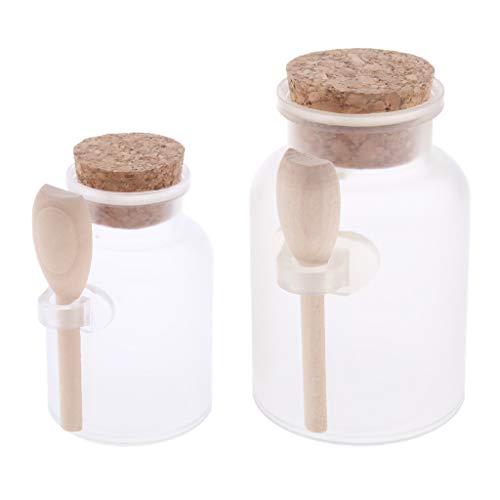 Baoblaze 2x Pots de Crème Flacons Poudre Récipients Maquillage Masque Sel de Bain Réutilisables
