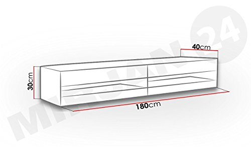 TV Lowboard Vigo New, TV Tische, TV Schrank, Fernsehschrank, Hängeschrank, Hochglanz (ohne Beleuchtung, Weiß / Weiß Hochglanz) - 3