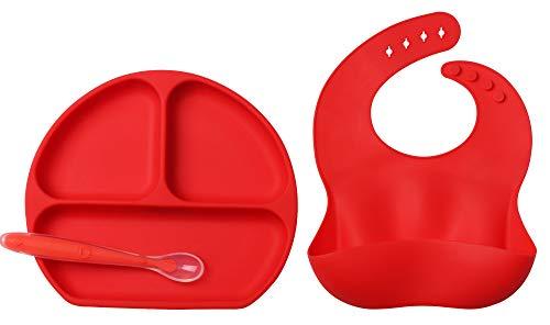 Bambini Tovaglietta in Silicone con Piatto Forte Ventosa Commestibile Piastra Divide Antiscivolo per Neonato Bambino, FDA e BPA liberi Microonde & Lavastoviglie & Congelatore Sicuro(Rosso)