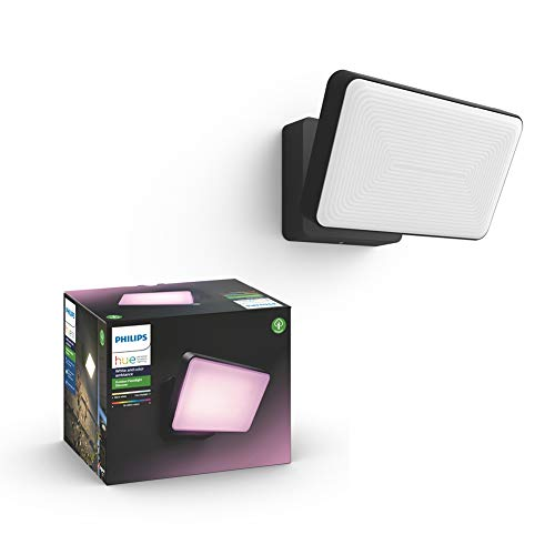 Philips Hue White and Colour Ambiance LED Discover Black Garden Floodlight, Compatible with Alexa