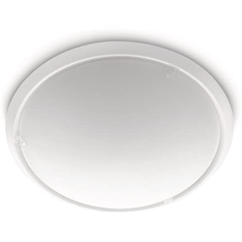 Philips myLiving Canvas - Plafón, iluminación interior, casquillo E27, IP20, luz blanca cálida, color blanco