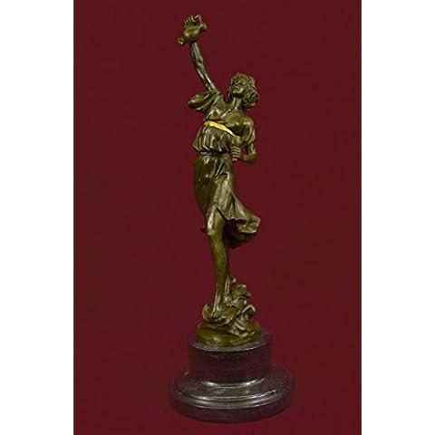 Statua di bronzo Scultura...Spedizione Gratuita...Genuine marmo base metallica greco signora Girl Brocca Vaso(XNCH-3135G-JP)Statue Figurine Figurine Nude per ufficio e casa Décor Primo Giorno Collezi