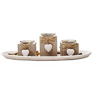 khevga Windlicht-Tablett aus Holz grau mit Herzen