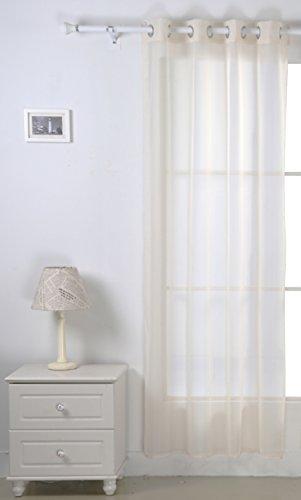 Deconovo tenda voile in lino trasparente semilucido per camera da letto con fermatende abbinato 140x183 cm beige 1 pannello