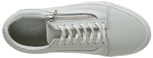 Vans UA Old Skool Zip, Baskets Basses Femme Bleu (Leather Zephyr Blue/blanc De Blanc)
