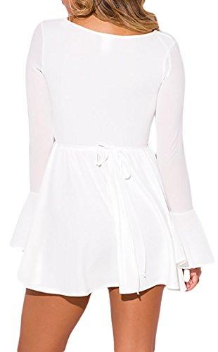 MYWY - Abito corto donna vestito mini donna manica lunga campana elegante sexy estate cinghia posteriore Bianco
