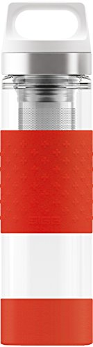 s, 0.4 L, Doppelwandige-isolierte Glas Trinkflasche mit Silikonschutz, BPA Frei, Rot ()