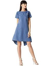 Miss Chase Women's Blue Round Neck Buttoned Denim Dress