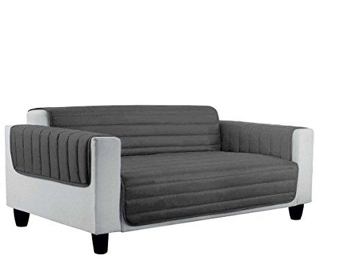 Italian bed linen cdelgrigiochiaro3p copri divano trapuntato in microfibra anallergica, doubleface, chiaro/grigio scuro, 3 posti