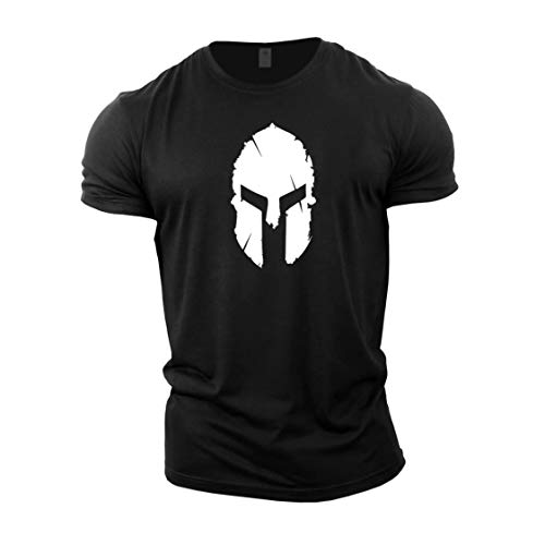 GYMTIER Magliette da Uomo per Bodybuilding - Spartan Helmet - Top per Allenamento in Palestra