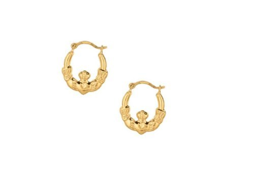 10k-yellow-gold-claddagh-hoop-tubular-earrings-13-mm-small-by-ritastephens