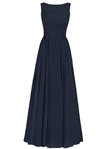 JAEDEN Femmes Robes de demoiselles d'honneur Longue Robes de bal Mousseline de soie Robe de soir¨¦e Robe de f¨ºte Bleu Marine