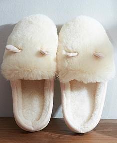 &zhou Automne féminin et oreilles de lapin mignon hiver coton pantoufles chaudes croûte épaisse avec un demi-paquet de pantoufles maison 3738-BEIGE