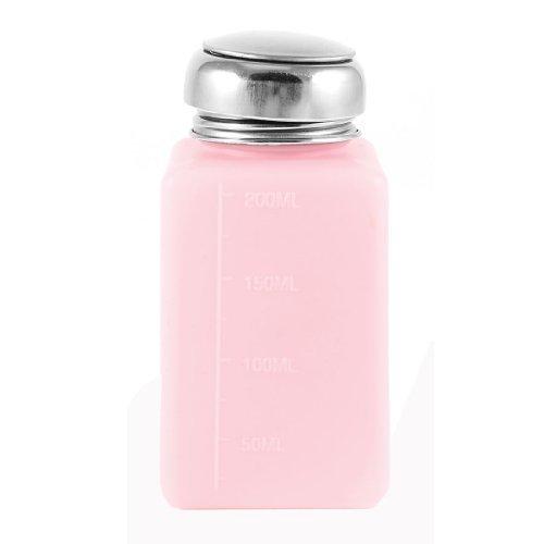 Silber Ton Metallkappe 200ml Kunststoff Lagerung von Flüssigkeiten Alkohol Flasche Rosa (Alkohol Flasche Lagerung)