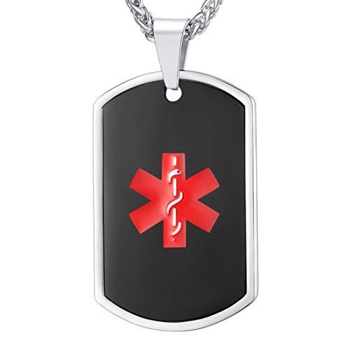 U7 Medizinische Alarm Erkennungsmarke schwarz Edelstahl Caduceus Symbol Medical Alert Anhänger Halskette für Männer Frauen Teenager Gesundheit Alarm(schwarz) (Medical Alert)