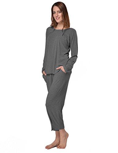 Zweiteiliger Freizeitanzug Schlafanzug Pyjama Hausanzug TrainingsanzugNachtwäsche-Set aus Viskose 3/4 Hose (36/38, Grau) ()