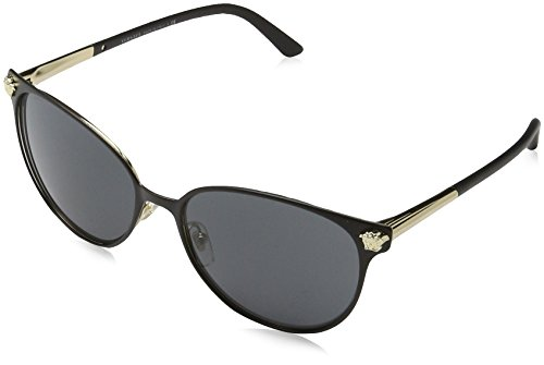 Versace Damen 0VE2168 137787 57 Sonnenbrille, Schwarz (Matte Black/Pale Gold/Grey),