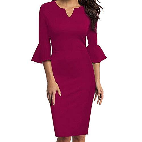 feiXIANG Frauen Elegante Kleider halskrause3 / 4 - Kleid Rundhals Rock Arbeiten Partei Kleid Frau Falten Retro Business Kleid Damen Skaterkleid (XL, Z/Rot)