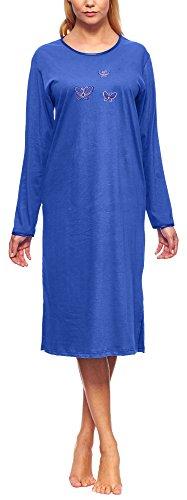 Merry Style Damen Nachthemd 91LW1(Kornblume(Langarm), XL)