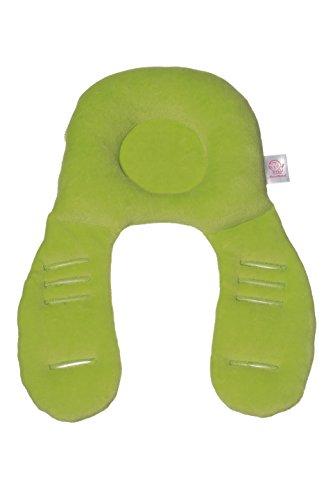 NeckyDrive 114101 Kopfstützkissen für Kindertrageschalen, circa 35 x 24 cm, grün/beige