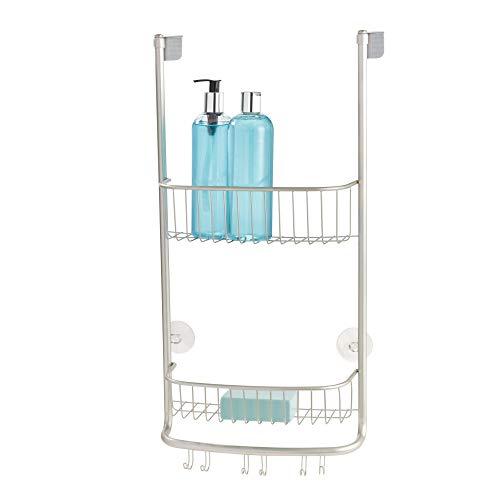 Rasierer-anlage (iDesign Duschregal zum Hängen, kleine Duschablage mit zwei Körben und 3 Doppelhaken, Duschkorb aus Metall für die Duschkabine, silberfarben)