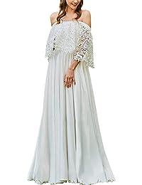 JAEDEN Abito da Sposa Vestito da Sposa Donna Boemia Abito da Sera Abito da  Spiaggia Chiffon f8ca8a062e9