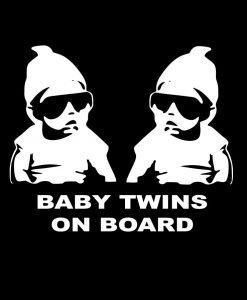 myrockshirt® Aufkleber Baby Twins on Board coole Zwillinge 17 cm Autoaufkleber Auto Sticker Lack Heckscheibe Baby Bord aus Hochleistungsfolie ohne Hintergrund Profi-Qualität viele Farben zur Auswahl MADE IN GERMANY