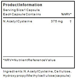 N-Acetyl Cysteine Capsules   NAC Supplement 375mg 60 Capsules   Suitable for Vegans and Vegetarians- Aditive Free