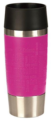Emsa 515513 Travel Mug, Thermobecher, mobiler Kaffeebecher, 360ml, Eis-Kaffee, Isolierbecher, Eistee, Quick Press Verschluss, pink city