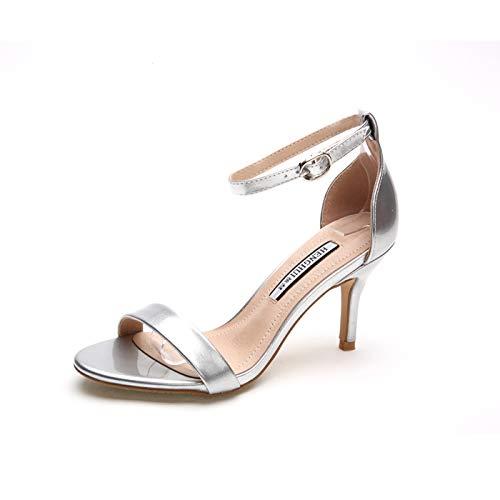 HRCxue Pumps Silberne Sandalen Damen High Heel mit Sandalen Schwarze Stiletto Damensandalen sexy, 39, Silber