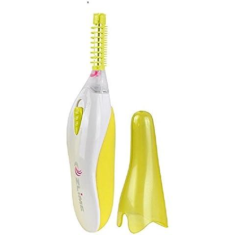 XJoel eléctrico de maquillaje de ojos climatizada rizador de pestañas largo duradera herramientas portátiles curvado eléctrico de la pestaña del cepillo rizador de calefacción de la pestaña del cepillo de belleza amarillo