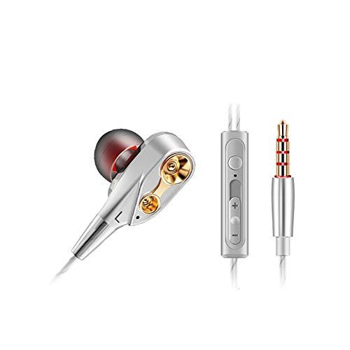 LBOJA Auricolari In-Ear a bassissimo movimento a bobina pesante con auricolari per cuffie HIFI Mic - Bianco