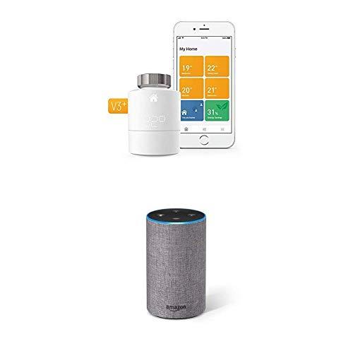 Tado Smartes Heizkörper-Thermostat Starter Kit V3+ und Amazon Echo (2. Generation, Intelligente Heizungssteuerung, Sprachsteuerung mit Amazon Alexa)