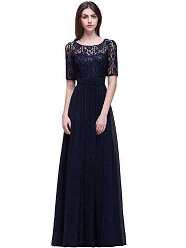 MisShow Elegant Damen Spitzen Abendkleid Kurzarm Kleid Cocktail Kleid Hinten-V-Schnitte Navy Blau Gr.46