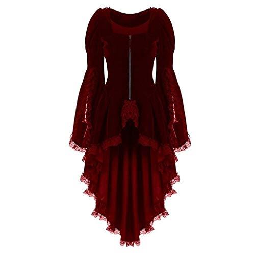 Gun Top Übergröße Kostüm - LOPILY Kleider Damen Spitze Kleider Mittelalter Kostüm mit Trompetenärmel Halloween Kostüm Damen Sexy Fashingskostüme Kanerval Gothic Bekleidung Lolita Kleid Prinzessin Königin (Rot, 44)