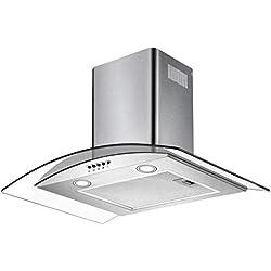 CIARRA Hotte Aspirante 60cm Verre & Inox, 550 m³ / h, LED Lampe, Filtre à Graisse Alu, Tuyau d'air, Extracteur avec cheminée de Cuisine