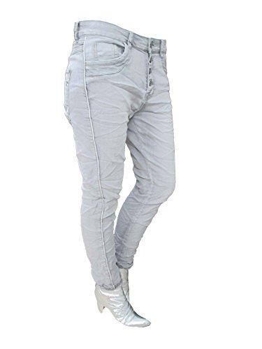 3d7e52ae1b36 Zum Shop · Stretch Baggy Boyfriend Jeans 4 Knöpfe Offene Knopfleiste  Silberne Streifen große Größen