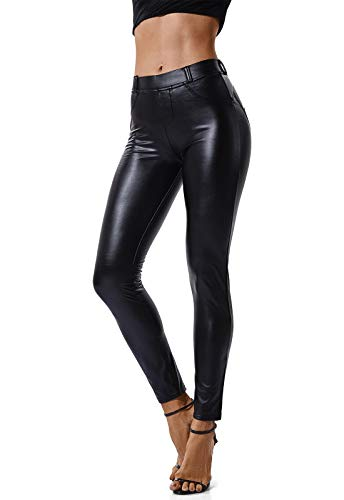 FITTOO Mujeres PU Leggins Cuero Brillante Pantalón Elásticos...