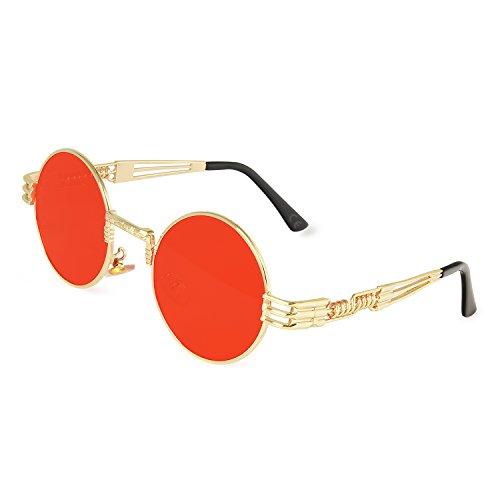 AMZTM Retro Vintage Steampunk Sonnenbrille Klassischer Kreis Hippie Brille für Herren Damen Runder Metallrahmen UV400 Schutz Alte Mode Brille (Gold Rahmen Rot Linse, 49)