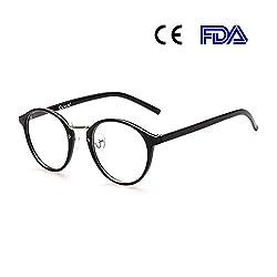 Cyxus Blaulichtfilter Computer-Gläser zum Blockieren von UV-Kopfschmerz [Verringerung der Augenbelastung] Retro Brillen, Unisex (Herren/Damen) (Retro Runder Rahmen)