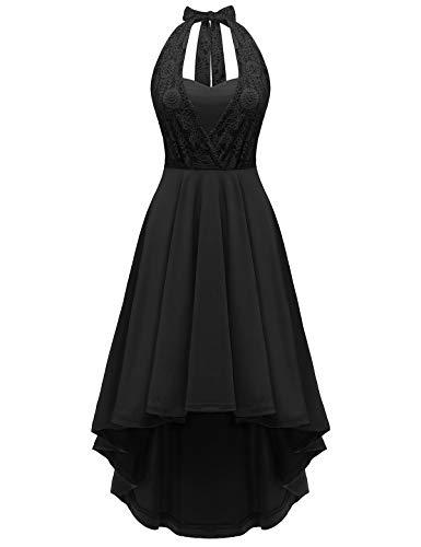 YOYAKER Robe Vintage Rétro Femme High Low de Soirée Cocktail Rockabily Style Halter années 50 Black 2XL