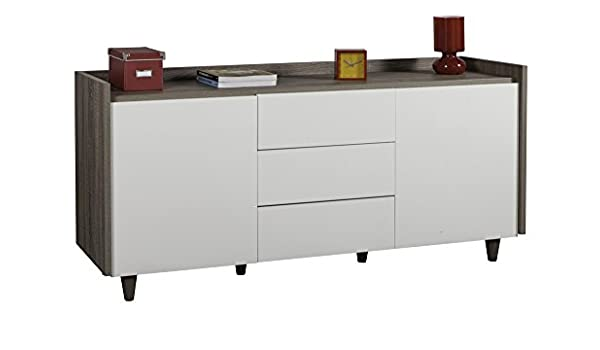Composad Base Multiuso con Due Ante e Tre cassetti Color Rovere Tartufo e Bianco Laccato Lucido
