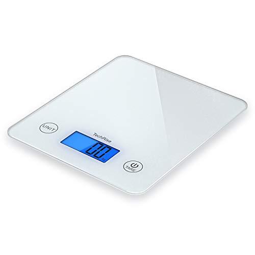 Balance Cuisine Electronique, TechRise Balance numérique de cuisine de Haute Précision, 5kg/1g, Acier Inoxydable Tactile Sensible Écran LCD Rétroéclairé (No Incluses piles)