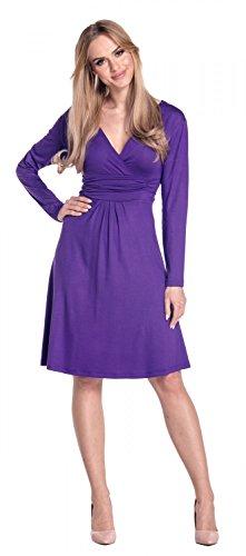 Glamour Empire Damen Ausgestellter Schnitt Kleid Jersey Shirtkleid Langarm 890 Lila