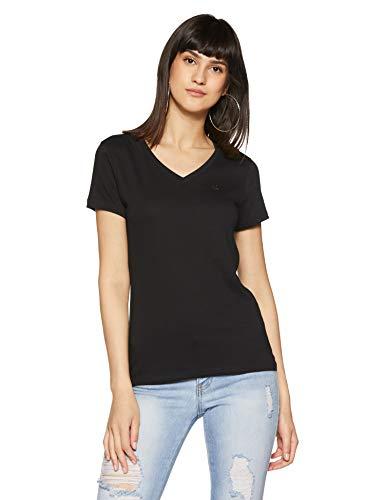 United Colors of Benetton Women's Plain Regular Fit T-Shirt (18A3MG1E950AI!_100!_S!_Black)