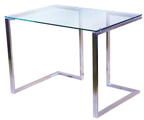 Glas Modern Schreibtisch (CHYRKA® Bürotisch Computertisch Beistelltisch Edelstahl Schminktisch Moderne Design Glas Schreibtisch (100x60 cm))
