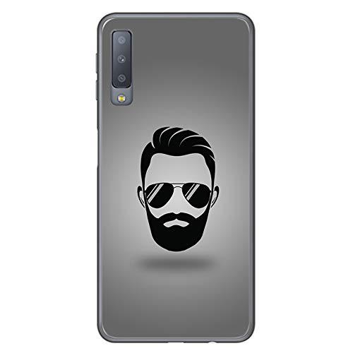 Tumundosmartphone Funda Gel TPU para Samsung Galaxy A7 (2018) Diseño Barba Dibujos