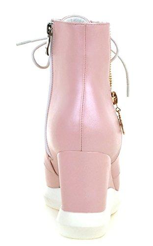 YE Damen Keilabsatz Schnürstiefeletten mit Reißverschluss Blumenmuster High Heel Plateau weiße Sohle Ankle Boots Rosa